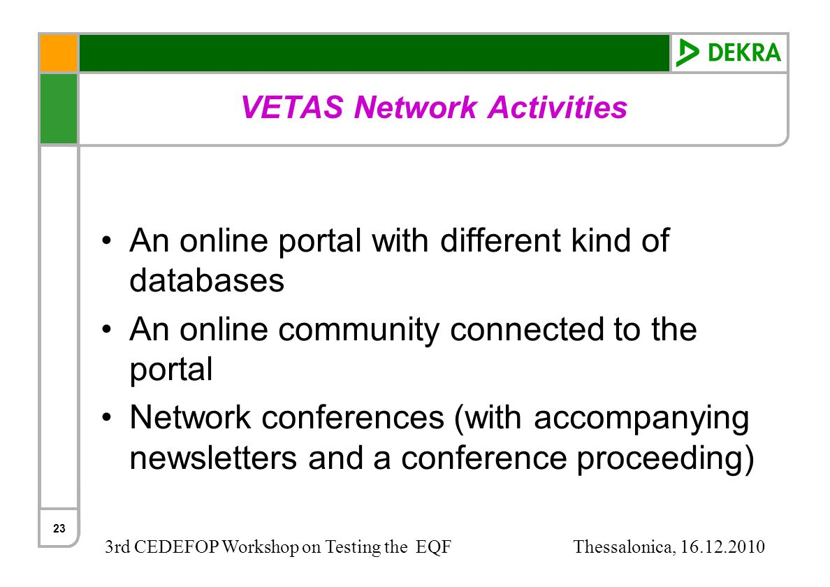 3rd CEDEFOP Workshop on Testing the EQF Thessalonica, 16.12.2010 23 VETAS Network Activities An online portal with different kind of databases An onli