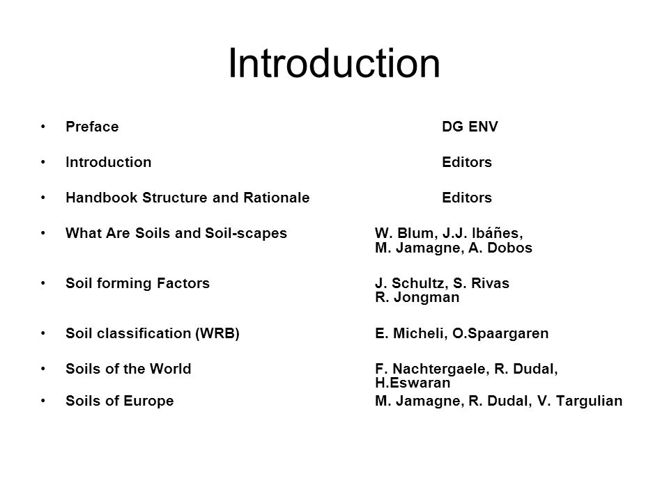 Introduction PrefaceDG ENV IntroductionEditors Handbook Structure and RationaleEditors What Are Soils and Soil-scapesW.