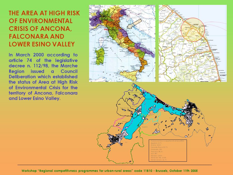 Workshop Regional competitivness programmes for urban-rural areas code 11B10 - Brussels, October 11th 2005 THE AREA AT HIGH RISK OF ENVIRONMENTAL CRIS