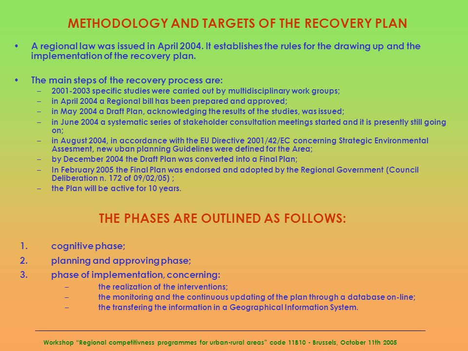 Workshop Regional competitivness programmes for urban-rural areas code 11B10 - Brussels, October 11th 2005 METHODOLOGY AND TARGETS OF THE RECOVERY PLA