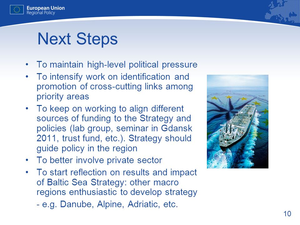 10 Next Steps To maintain high-level political pressure To intensify work on identification and promotion of cross-cutting links among priority areas To keep on working to align different sources of funding to the Strategy and policies (lab group, seminar in Gdansk 2011, trust fund, etc.).