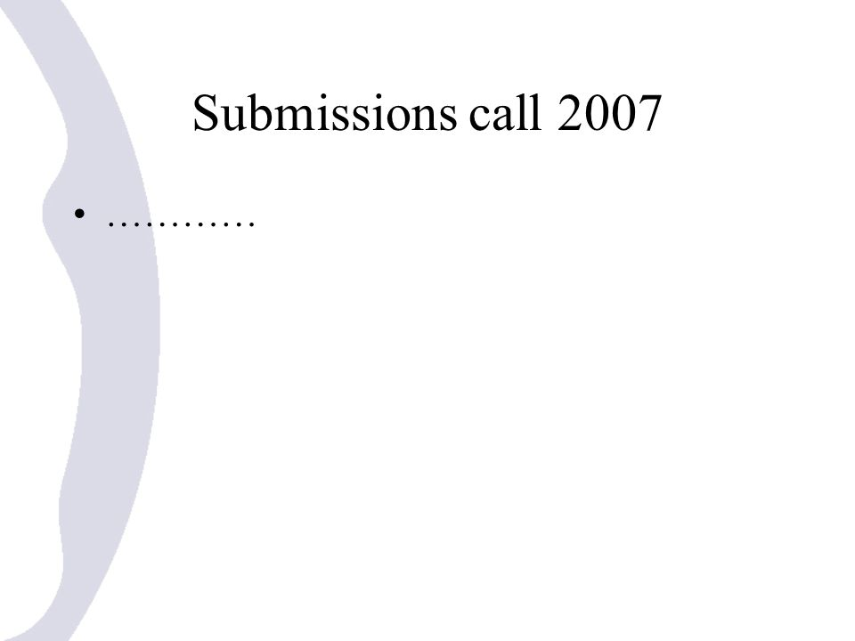 Submissions call 2007 …………