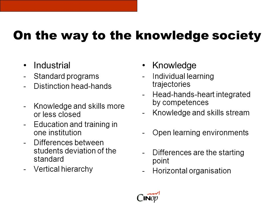 On the way to the knowledge society Industrial -Standard programs -Distinction head-hands -Knowledge and skills more or less closed -Education and training in one institution -Differences between students deviation of the standard -Vertical hierarchy Knowledge -Individual learning trajectories -Head-hands-heart integrated by competences -Knowledge and skills stream -Open learning environments -Differences are the starting point -Horizontal organisation