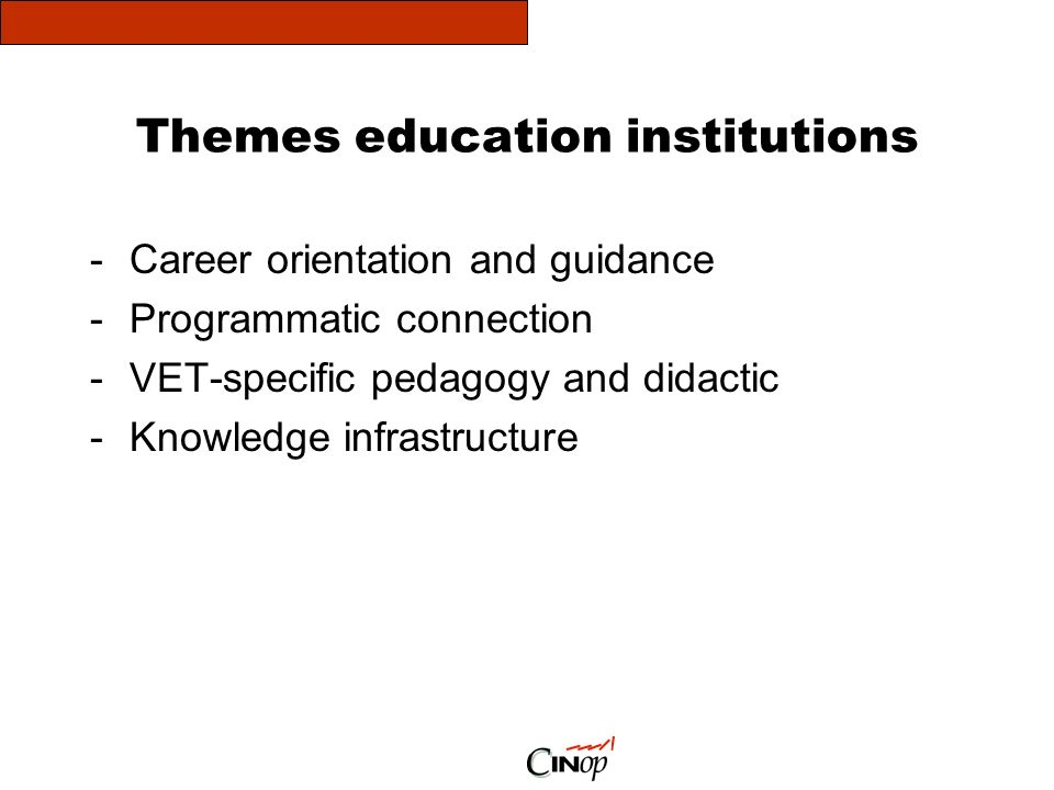 Themes education institutions -Career orientation and guidance -Programmatic connection -VET-specific pedagogy and didactic -Knowledge infrastructure