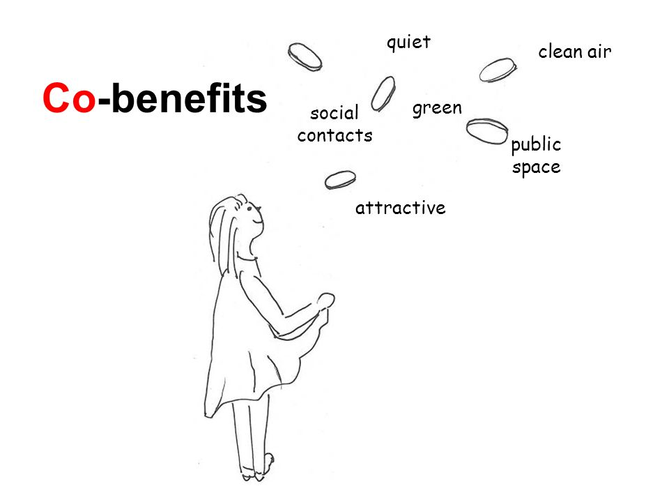 Co-benefits clean air quiet public space social contacts green attractive