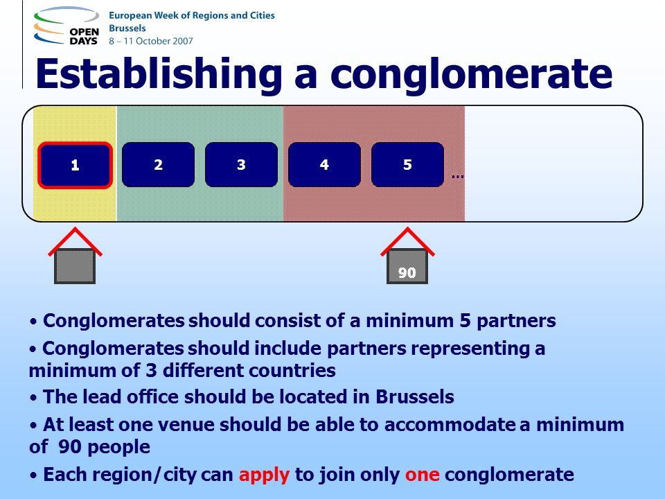 Establishing a conglomerate 12345 … 1 Conglomerates should consist of a minimum 5 partners Conglomerates should include partners representing a minimum of 3 different countries The lead office should be located in Brussels At least one venue should be able to accommodate a minimum of 90 people Each region/city can apply to join only one conglomerate 90