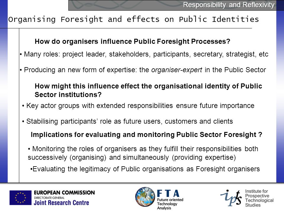 Responsibility and Reflexivity Organising Foresight and effects on Public Identities How do organisers influence Public Foresight Processes.