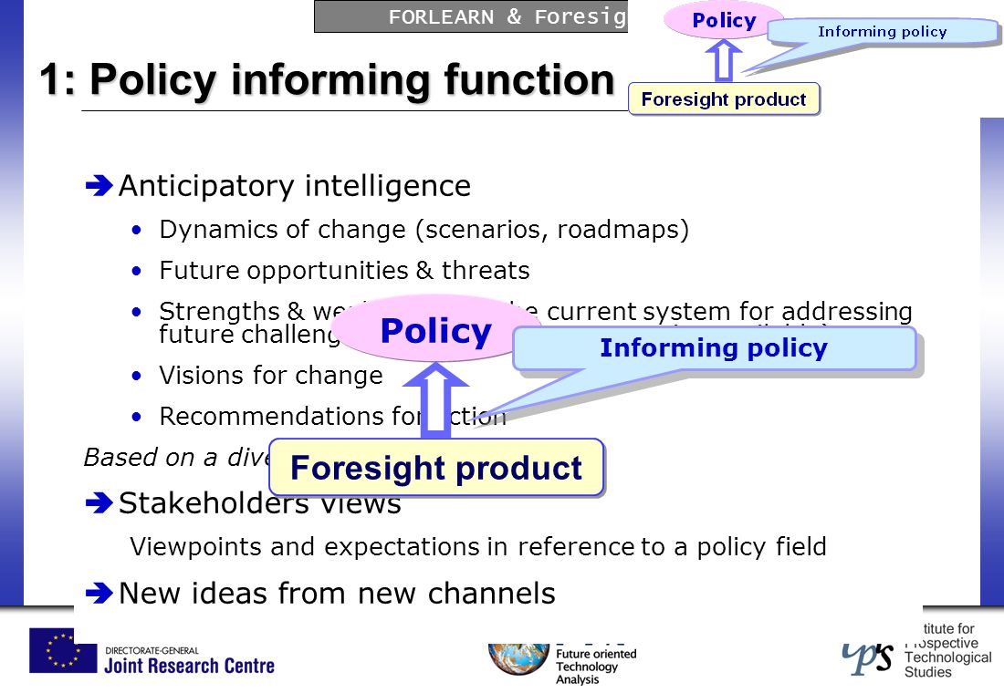 FORLEARN & Foresight Impact on Policy-making Anticipatory intelligence Dynamics of change (scenarios, roadmaps) Future opportunities & threats Strengths & weaknesses of the current system for addressing future challenges (e.g.