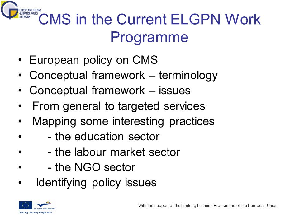 With the support of the Lifelong Learning Programme of the European Union CMS in the Current ELGPN Work Programme European policy on CMS Conceptual framework – terminology Conceptual framework – issues From general to targeted services Mapping some interesting practices - the education sector - the labour market sector - the NGO sector Identifying policy issues