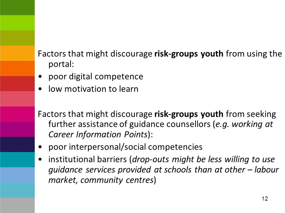 12 Factors that might discourage risk-groups youth from using the portal: poor digital competence low motivation to learn Factors that might discourage risk-groups youth from seeking further assistance of guidance counsellors (e.g.