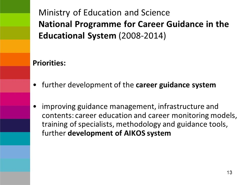13 Ministry of Education and Science National Programme for Career Guidance in the Educational System ( ) Priorities: further development of the career guidance system improving guidance management, infrastructure and contents: career education and career monitoring models, training of specialists, methodology and guidance tools, further development of AIKOS system
