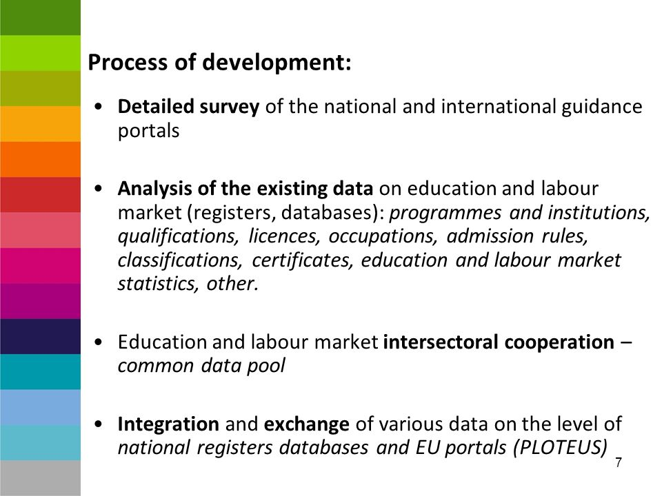 7 Process of development: Detailed survey of the national and international guidance portals Analysis of the existing data on education and labour market (registers, databases): programmes and institutions, qualifications, licences, occupations, admission rules, classifications, certificates, education and labour market statistics, other.