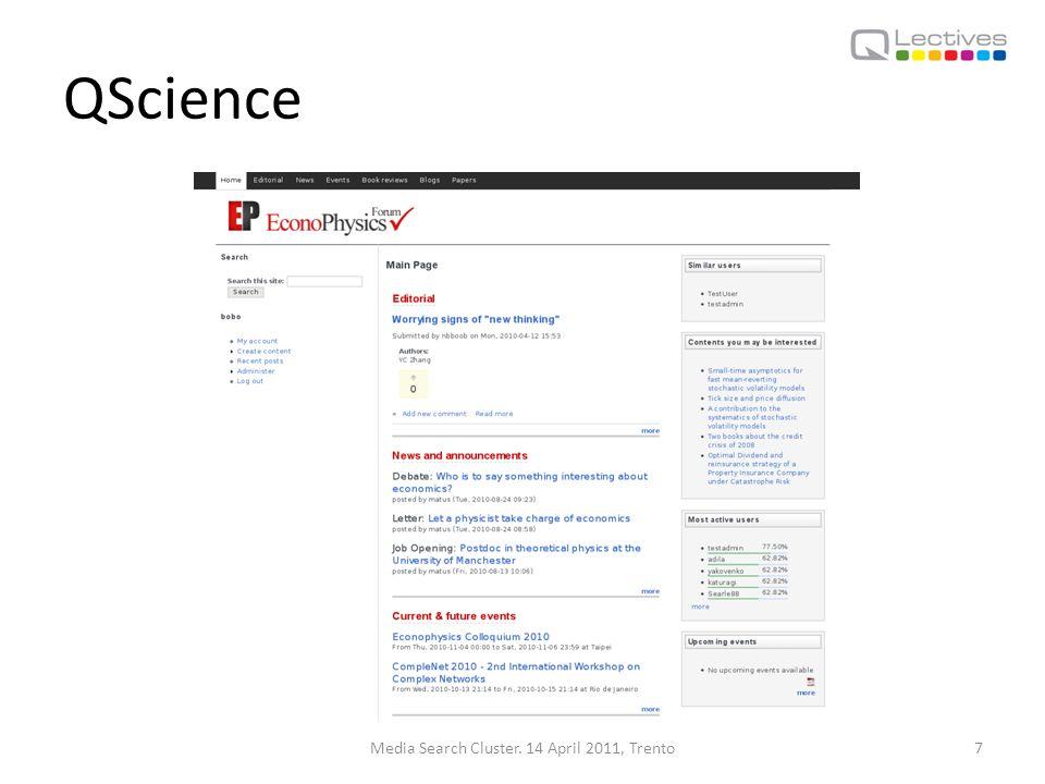 QMedia Media Search Cluster. 14 April 2011, Trento8