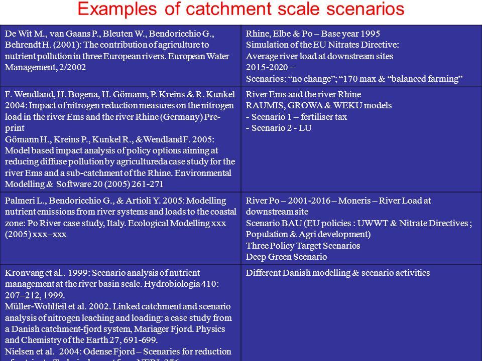Examples of catchment scale scenarios De Wit M., van Gaans P., Bleuten W., Bendoricchio G., Behrendt H.