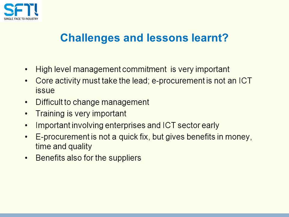 Challenges and lessons learnt.