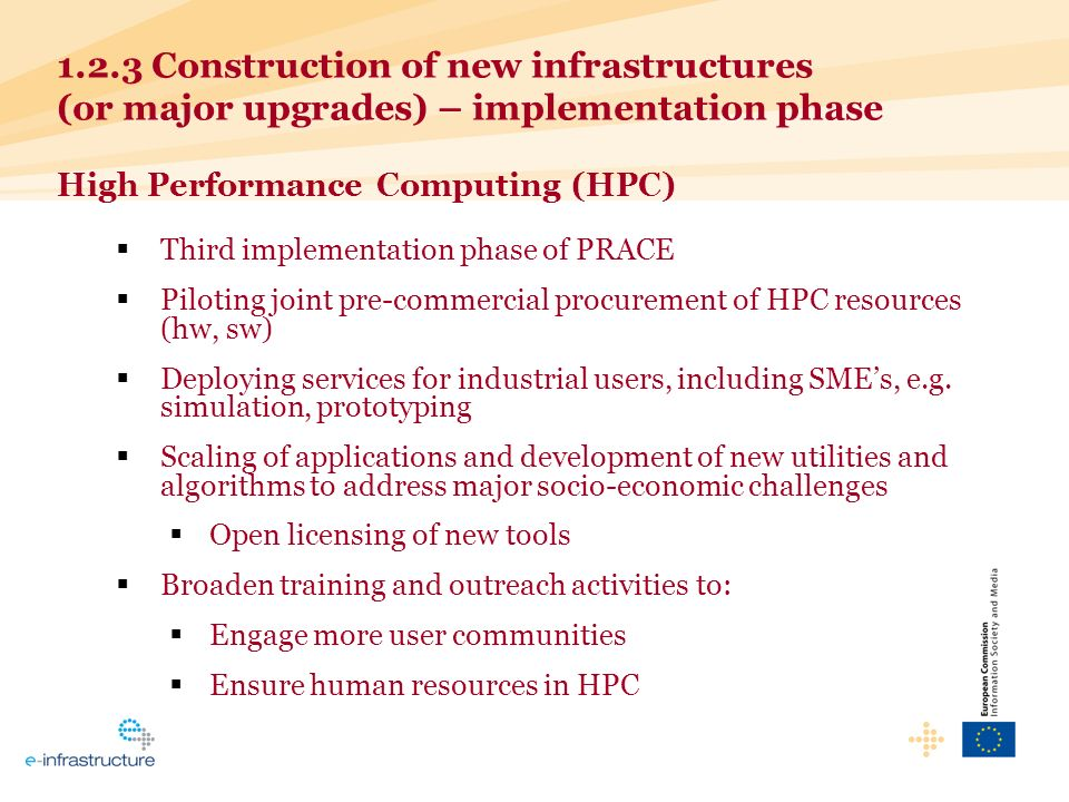 1.2.3 Construction of new infrastructures (or major upgrades) – implementation phase High Performance Computing (HPC) Third implementation phase of PRACE Piloting joint pre-commercial procurement of HPC resources (hw, sw) Deploying services for industrial users, including SMEs, e.g.
