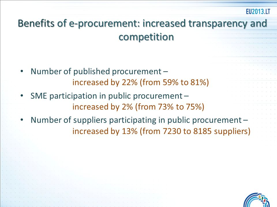 Number of published procurement – increased by 22% (from 59% to 81%) SME participation in public procurement – increased by 2% (from 73% to 75%) Number of suppliers participating in public procurement – increased by 13% (from 7230 to 8185 suppliers) Benefits of e-procurement: increased transparency and competition 8