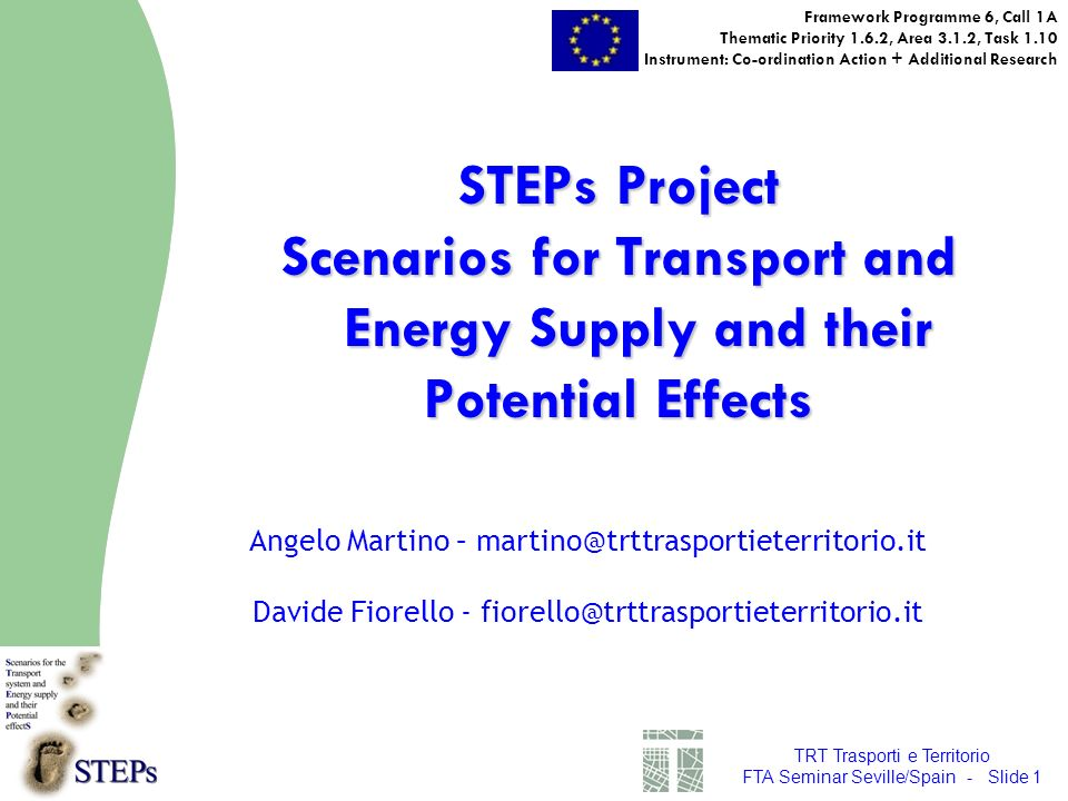 TRT Trasporti e Territorio FTA Seminar Seville/Spain - Slide 1 STEPs Project Scenarios for Transport and Energy Supply and their Potential Effects Framework Programme 6, Call 1A Thematic Priority 1.6.2, Area 3.1.2, Task 1.10 Instrument: Co-ordination Action + Additional Research Angelo Martino – martino@trttrasportieterritorio.it Davide Fiorello - fiorello@trttrasportieterritorio.it