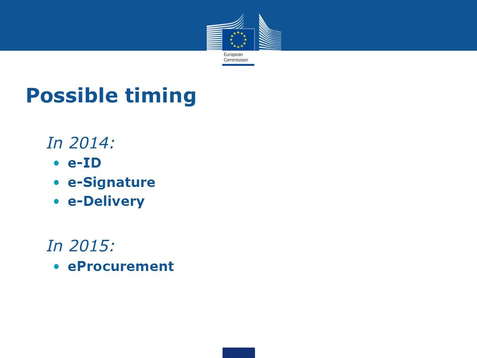 Possible timing In 2014: e-ID e-Signature e-Delivery In 2015: eProcurement