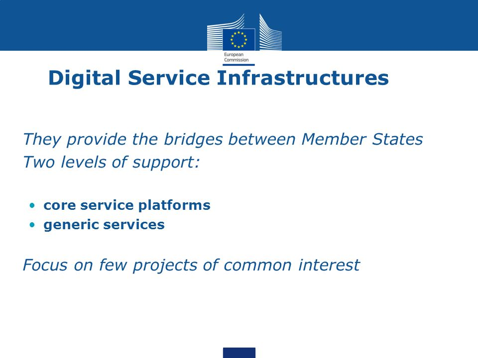 They provide the bridges between Member States Two levels of support: core service platforms generic services Focus on few projects of common interest