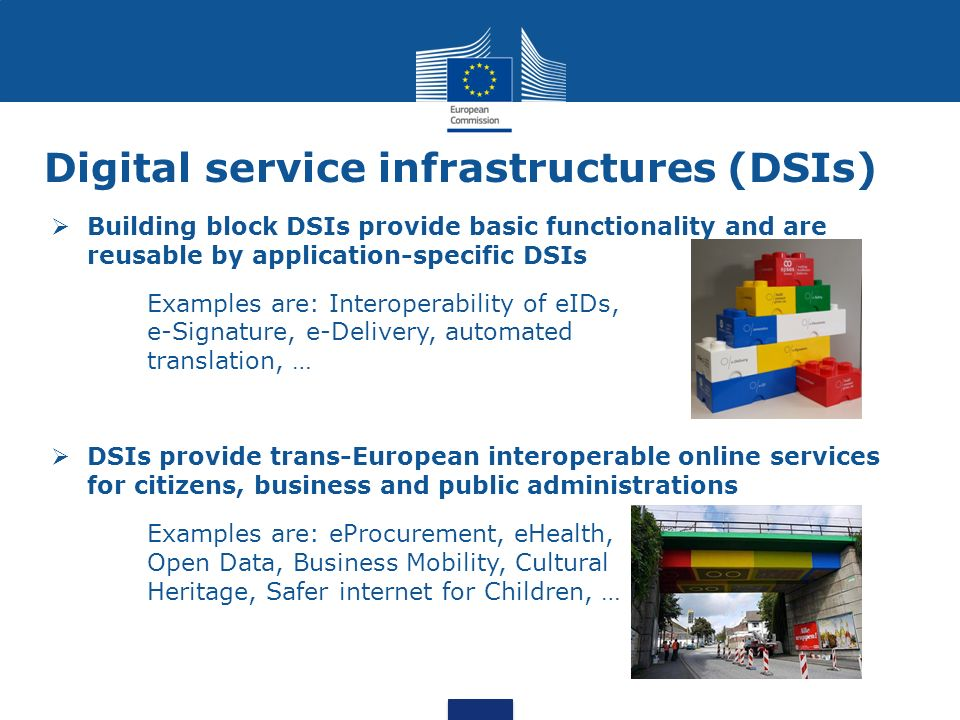 Digital service infrastructures (DSIs) Building block DSIs provide basic functionality and are reusable by application-specific DSIs Examples are: Int