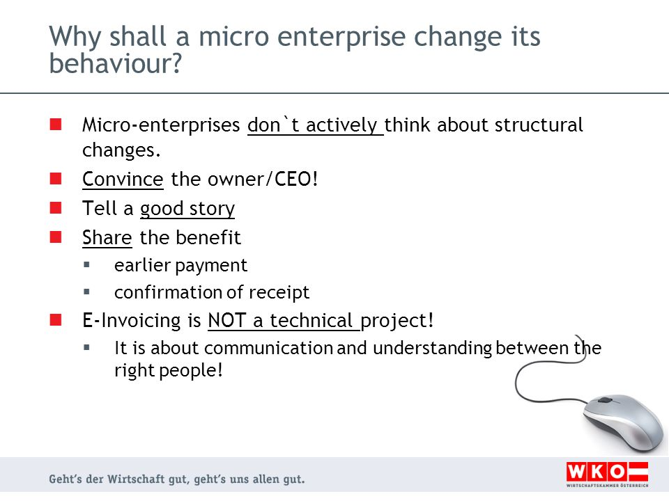 Why shall a micro enterprise change its behaviour? Micro-enterprises don`t actively think about structural changes. Convince the owner/CEO! Tell a goo