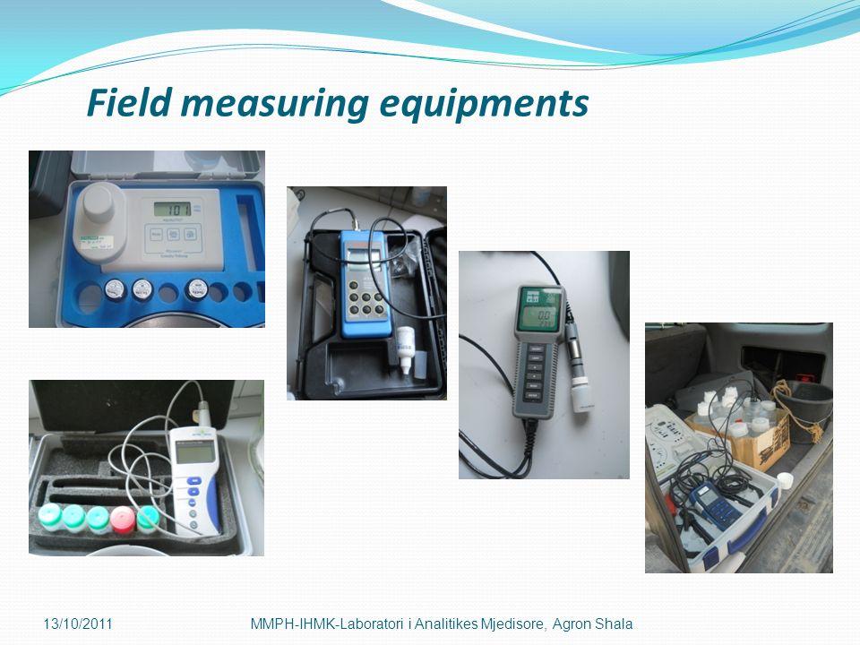 Field measuring equipments 13/10/2011MMPH-IHMK-Laboratori i Analitikes Mjedisore, Agron Shala