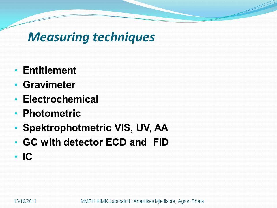 Measuring techniques Entitlement Gravimeter Electrochemical Photometric Spektrophotmetric VIS, UV, AA GC with detector ECD and FID IC 13/10/2011MMPH-I