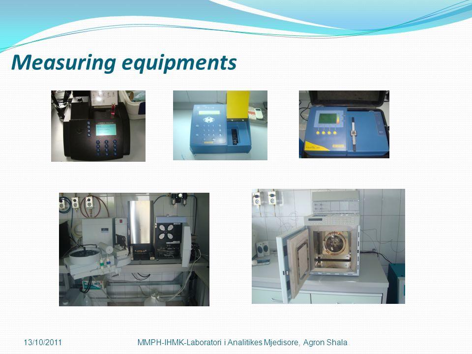 Measuring equipments 13/10/2011MMPH-IHMK-Laboratori i Analitikes Mjedisore, Agron Shala