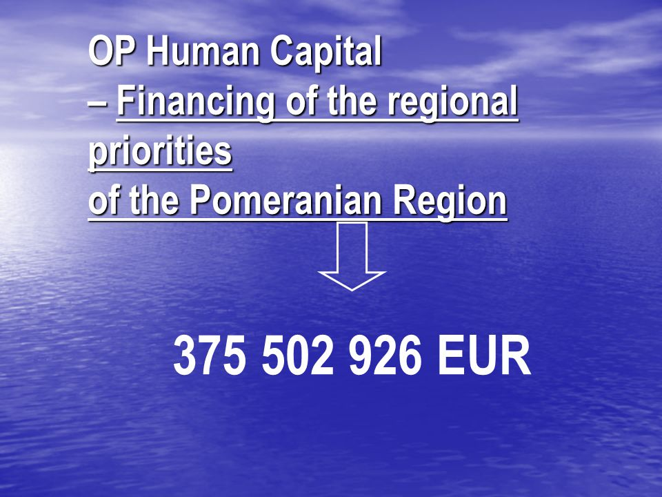 OP Human Capital – Financing of the regional priorities of the Pomeranian Region 375 502 926 EUR