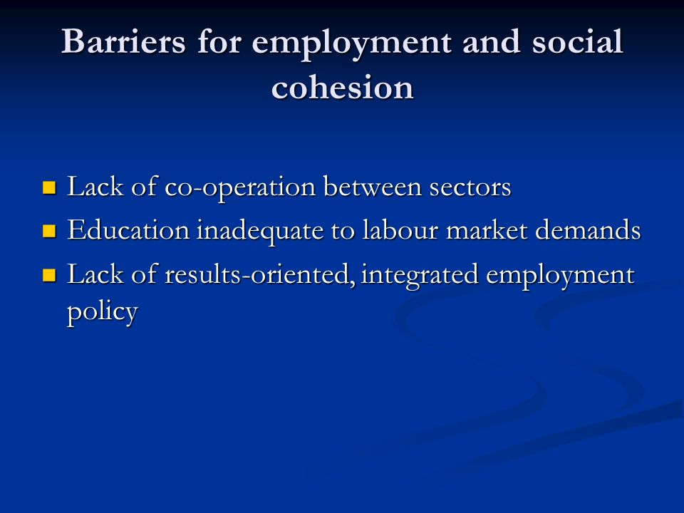 Barriers for employment and social cohesion Lack of co-operation between sectors Lack of co-operation between sectors Education inadequate to labour market demands Education inadequate to labour market demands Lack of results-oriented, integrated employment policy Lack of results-oriented, integrated employment policy