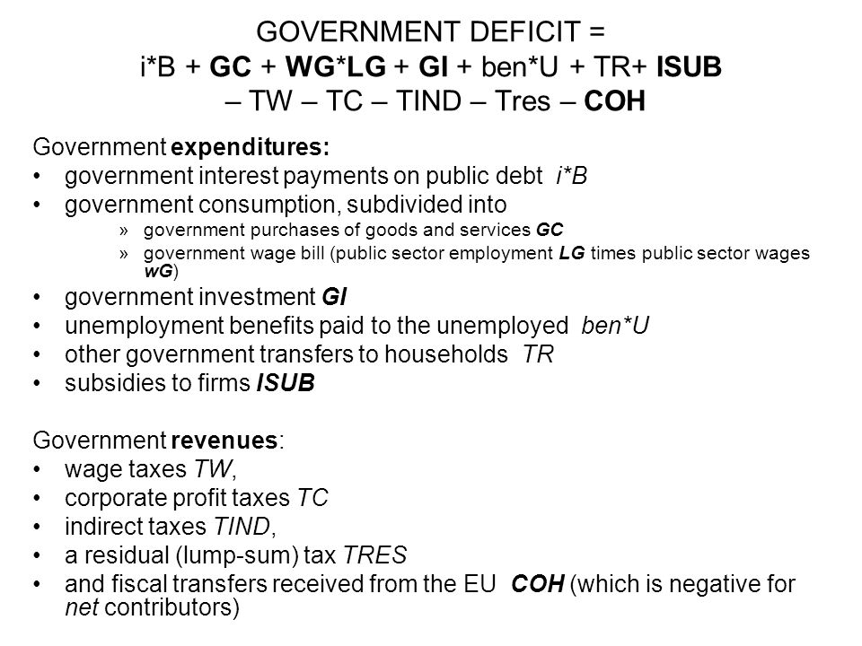 GOVERNMENT DEFICIT = i*B + GC + WG*LG + GI + ben*U + TR+ ISUB – TW – TC – TIND – Tres – COH Government expenditures: government interest payments on p