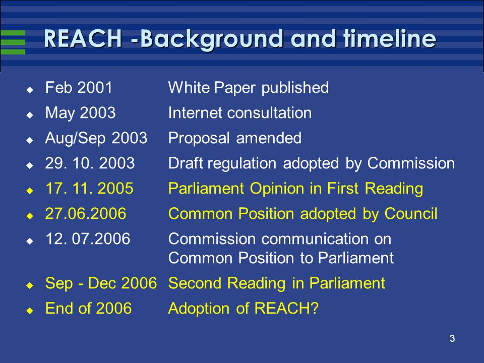 3 REACH -Background and timeline Feb 2001 White Paper published May 2003 Internet consultation Aug/Sep 2003 Proposal amended 29.