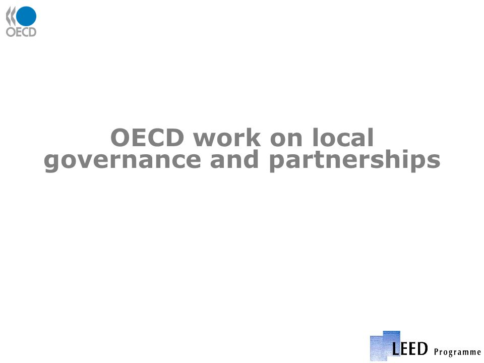 OECD work on local governance and partnerships