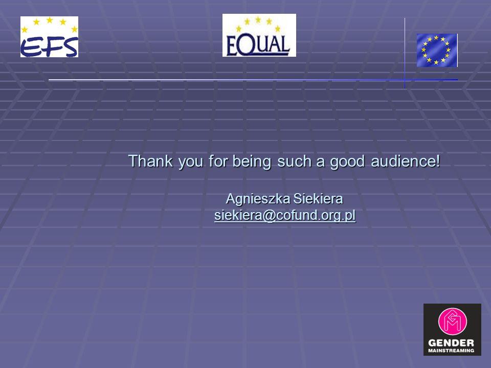 Thank you for being such a good audience! Agnieszka Siekiera siekiera@cofund.org.pl