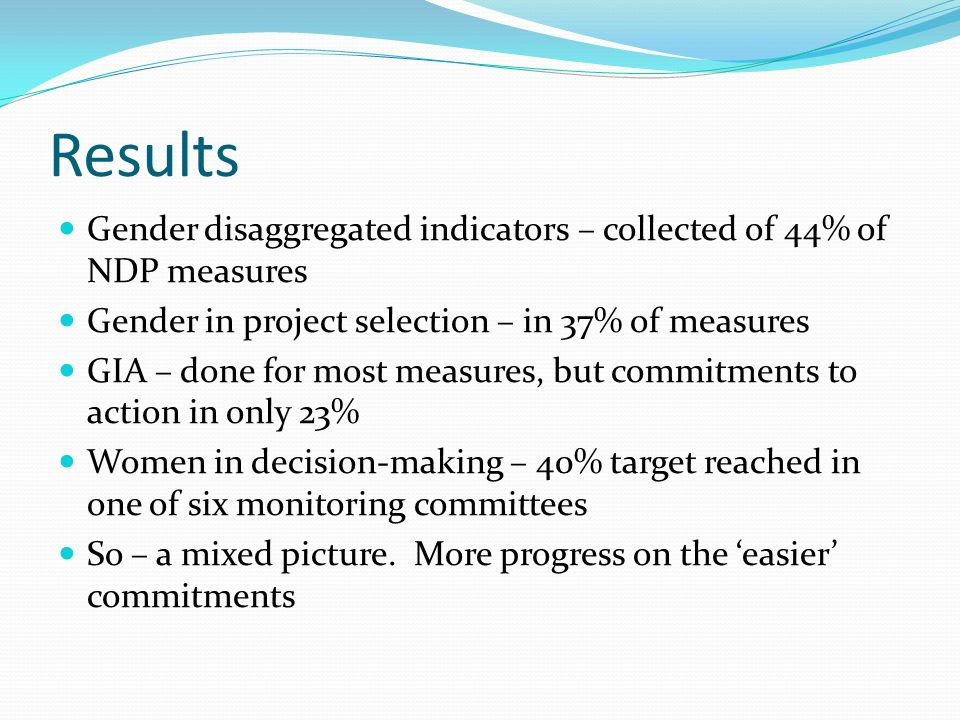 Results Gender disaggregated indicators – collected of 44% of NDP measures Gender in project selection – in 37% of measures GIA – done for most measures, but commitments to action in only 23% Women in decision-making – 40% target reached in one of six monitoring committees So – a mixed picture.