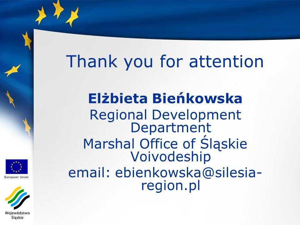 Thank you for attention Elżbieta Bieńkowska Regional Development Department Marshal Office of Śląskie Voivodeship email: ebienkowska@silesia- region.p