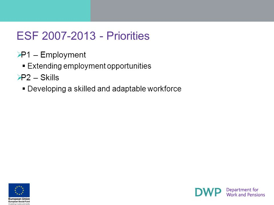 ESF 2007-2013 - Priorities P1 – Employment Extending employment opportunities P2 – Skills Developing a skilled and adaptable workforce