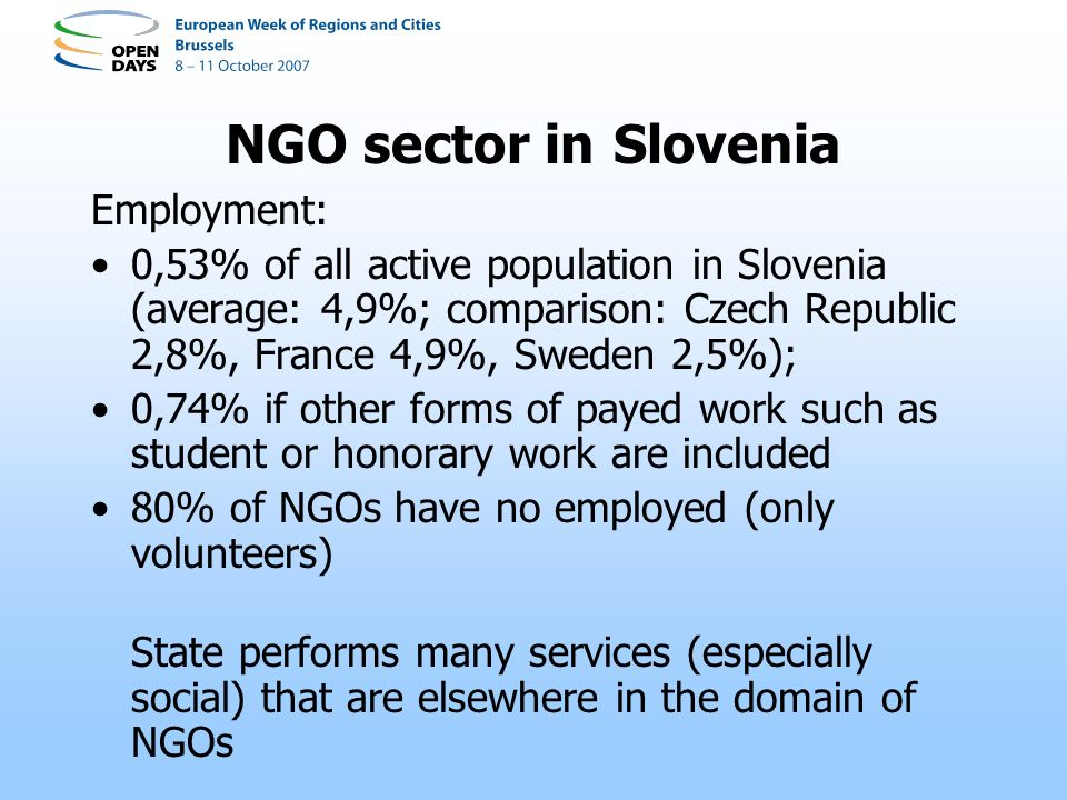 NGO sector in Slovenia Employment: 0,53% of all active population in Slovenia (average: 4,9%; comparison: Czech Republic 2,8%, France 4,9%, Sweden 2,5