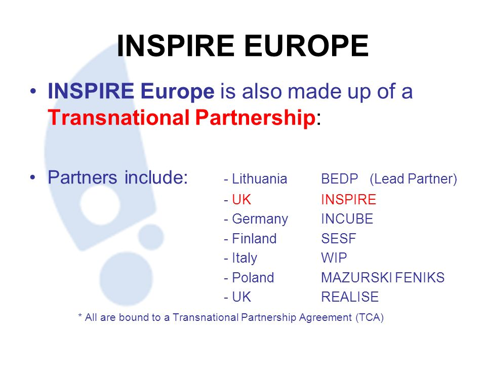 INSPIRE EUROPE INSPIRE Europe is also made up of a Transnational Partnership: Partners include: - LithuaniaBEDP (Lead Partner) - UKINSPIRE - GermanyINCUBE - FinlandSESF - ItalyWIP - PolandMAZURSKI FENIKS - UKREALISE * All are bound to a Transnational Partnership Agreement (TCA)