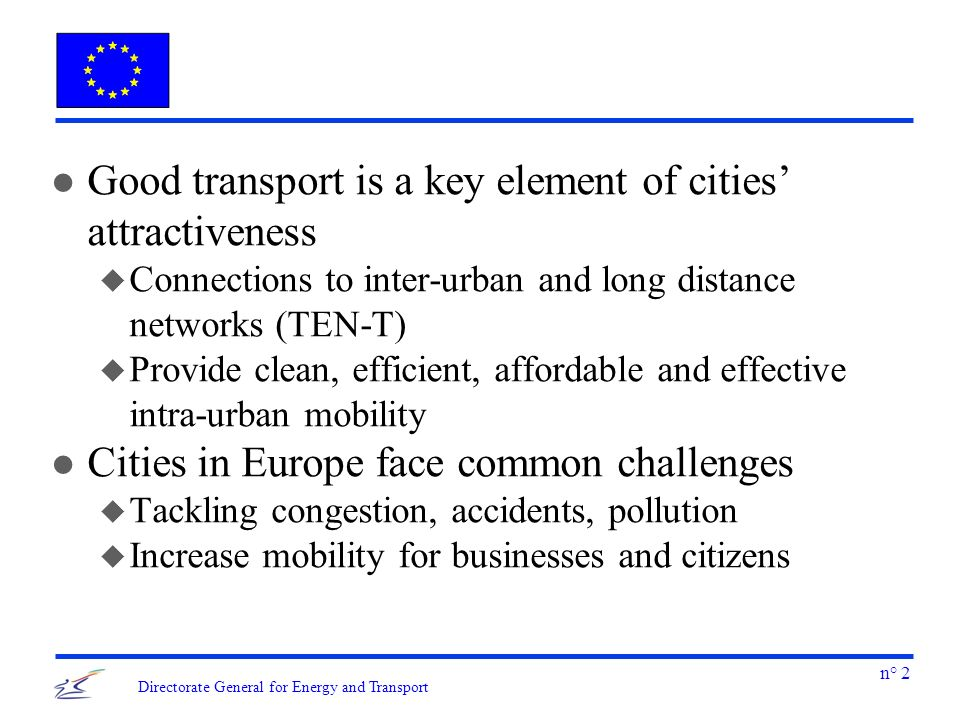 n° 3 Directorate General for Energy and Transport l What role for the private vehicle in cities.