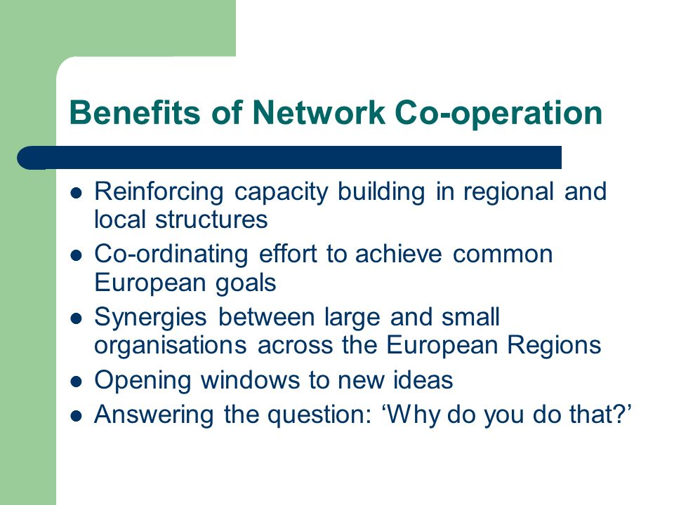Benefits of Network Co-operation Reinforcing capacity building in regional and local structures Co-ordinating effort to achieve common European goals Synergies between large and small organisations across the European Regions Opening windows to new ideas Answering the question: Why do you do that