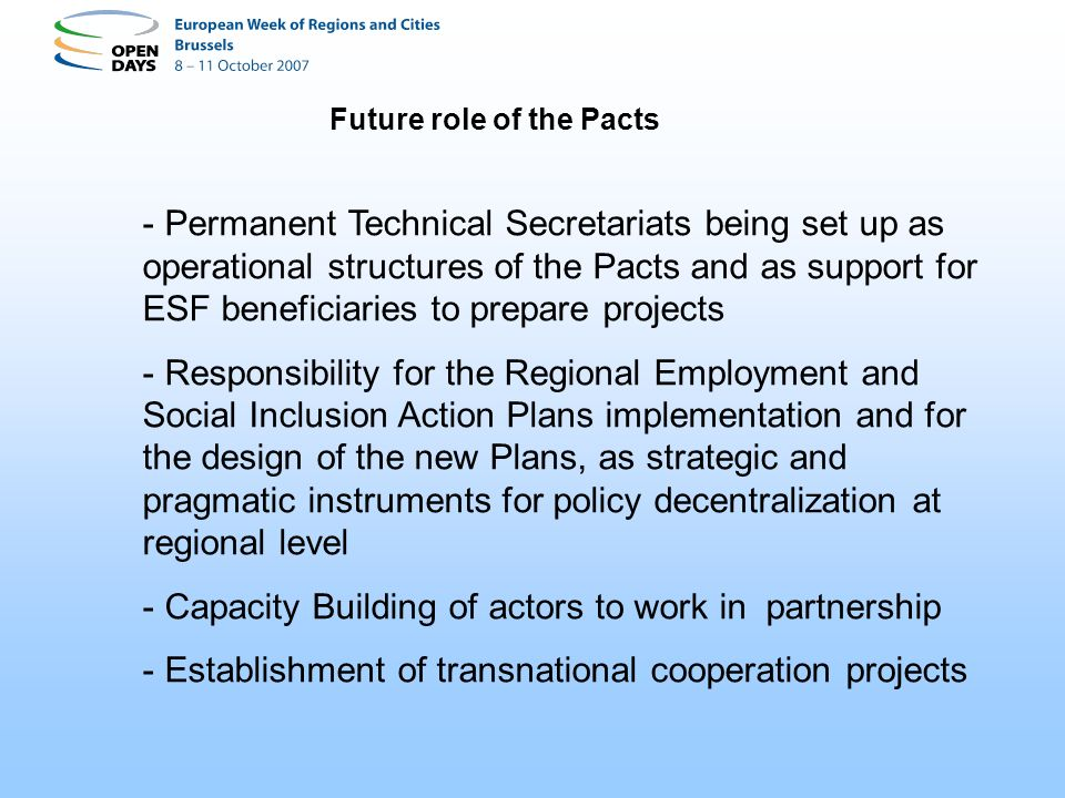 Future role of the Pacts - Permanent Technical Secretariats being set up as operational structures of the Pacts and as support for ESF beneficiaries t