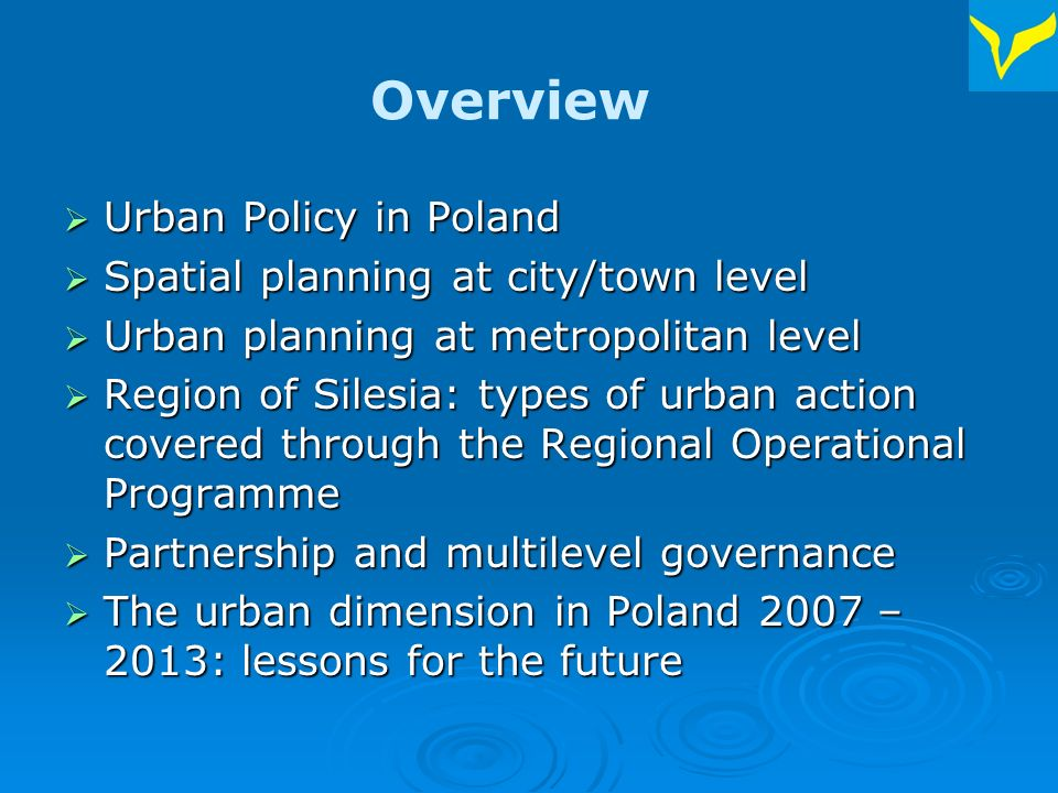 Introduction The Silesian Union of Municipalities and Districts – a voluntary the Region of Silesia (4,7 mln inhabitants), south of Poland The Silesian Union of Municipalities and Districts – a voluntary association of local governments located in Katowice in the Region of Silesia (4,7 mln inhabitants), south of Poland 126 members (cities, towns, rural communities, districts) 126 members (cities, towns, rural communities, districts) 12 Committees + Urban Policy Working Group 12 Committees + Urban Policy Working Group
