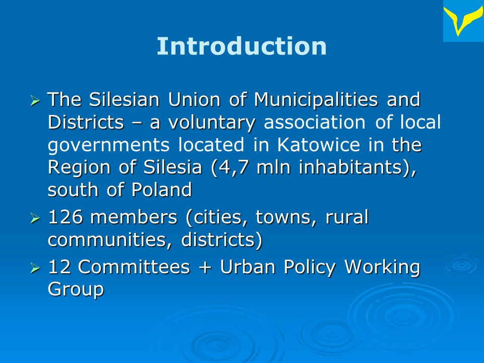 Urban Policy in Poland There is no single National Government document establishing Urban Policy in Poland There is no single National Government document establishing Urban Policy in Poland Some elements of Urban Policy exist in various sectoral policies and strategic documents (e.g.
