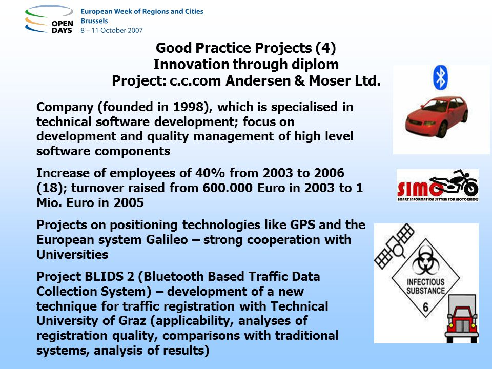 Good Practice Projects (4) Innovation through diplom Project: c.c.com Andersen & Moser Ltd.