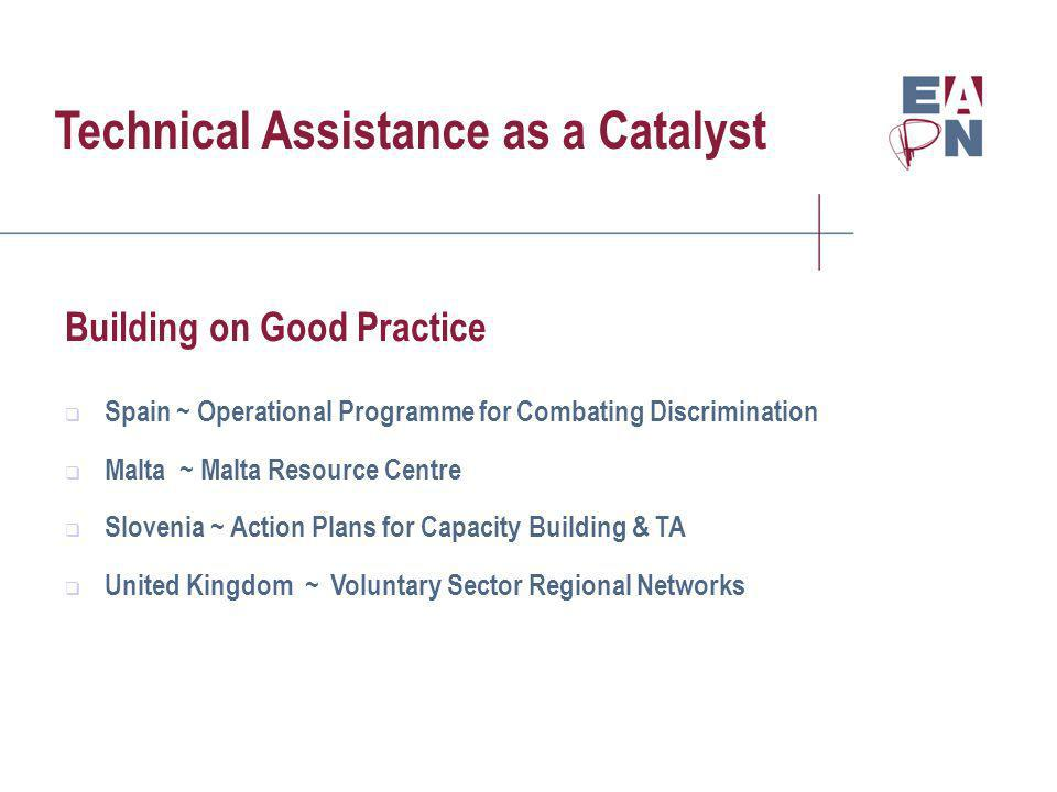 Technical Assistance as a Catalyst Building on Good Practice Spain ~ Operational Programme for Combating Discrimination Malta ~ Malta Resource Centre Slovenia ~ Action Plans for Capacity Building & TA United Kingdom ~ Voluntary Sector Regional Networks