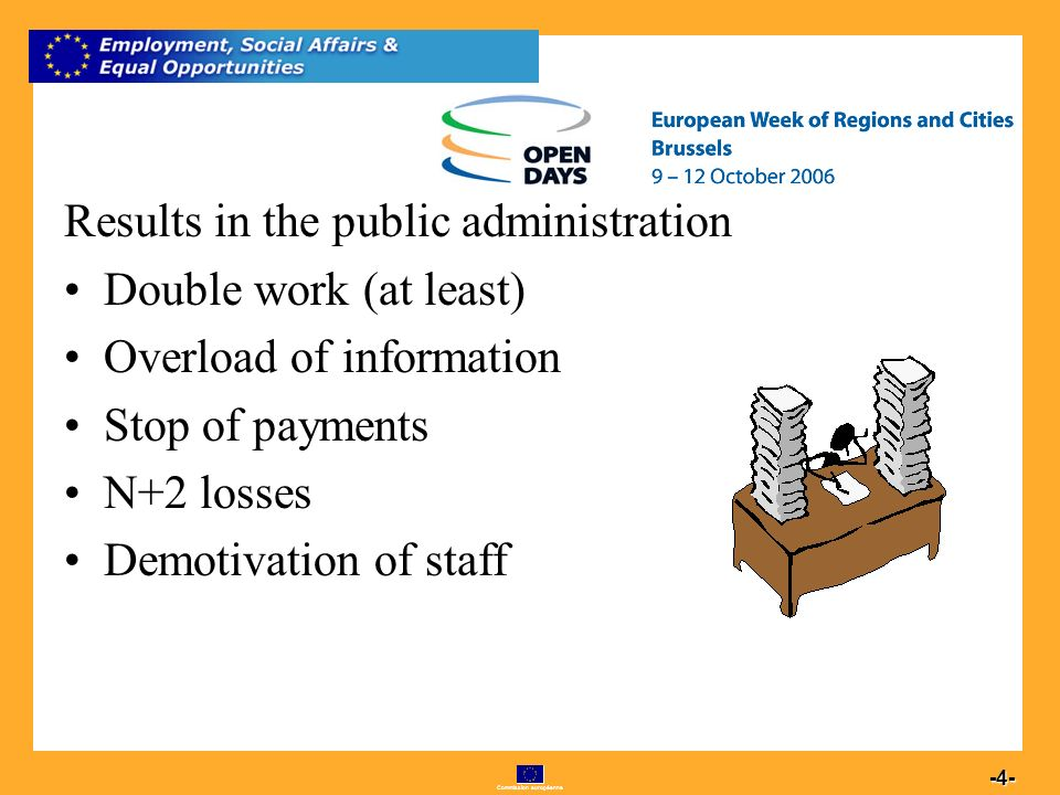 Commission européenne 4 -4- Results in the public administration Double work (at least) Overload of information Stop of payments N+2 losses Demotivation of staff