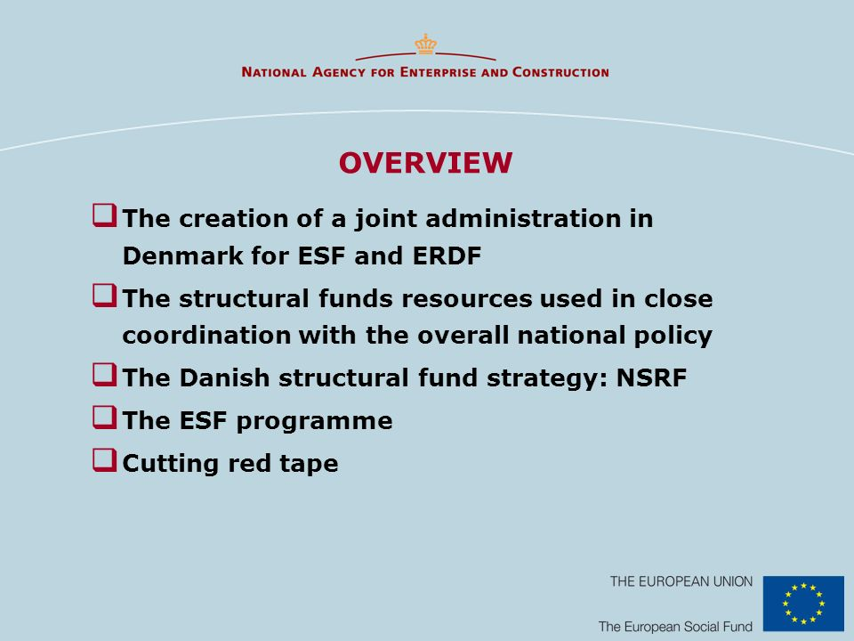 OVERVIEW The creation of a joint administration in Denmark for ESF and ERDF The structural funds resources used in close coordination with the overall national policy The Danish structural fund strategy: NSRF The ESF programme Cutting red tape