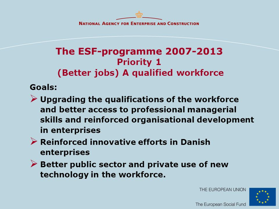 The ESF-programme 2007-2013 Priority 1 (Better jobs) A qualified workforce Goals: Upgrading the qualifications of the workforce and better access to professional managerial skills and reinforced organisational development in enterprises Reinforced innovative efforts in Danish enterprises Better public sector and private use of new technology in the workforce.